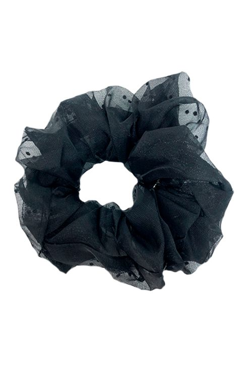 By Stær Scrunchie Naja Big Scunchi Black with small dots Front