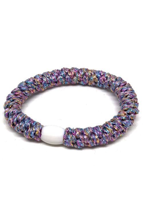 By Stær - Hårelastik - Braided Hairties - Glitter White Rainbow