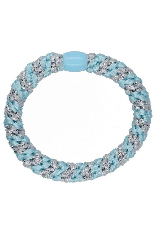 By Stær Hårelastikker Braided Hairties Multi Baby Blue Silver Front
