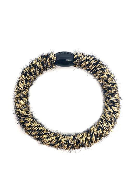 By Stær Hårelastik Braided Hairties Fluffy Black/Gold Front