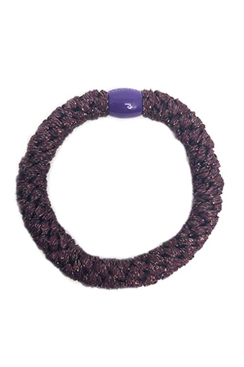 By Stær Hårelastik Braided Hairties Glitter Bordeaux Metallic Front