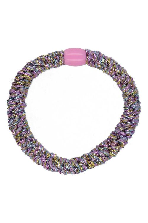By Stær Hårelastik Braided Hairties Glitter Purple Rainbow Front