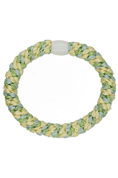 By Stær - Hårelastik - Braided Hairties - Multi Pastel Yellow/Blue/Green