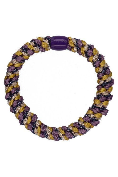 By Stær Hårelastik Braided Hairties Multi Purple Dijon Glitter Front