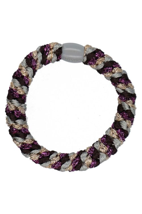 By Stær Hårelastik Braided Hairties Multi Purple/Gold/Brown Front