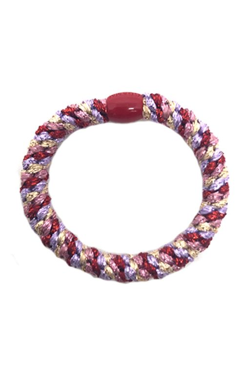 By Stær Hårelastik Braided Hairties Multi Red/Purple/Gold Metallic Front