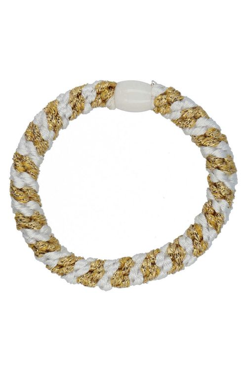 By Stær Hårelastik Braided Hairties Multi White/Gold Front