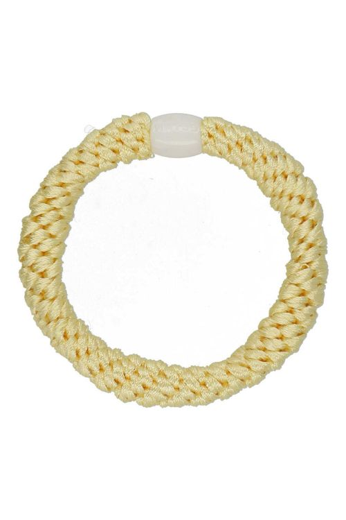 By Stær Hårelastik Braided Hairties Pastel Yellow Front