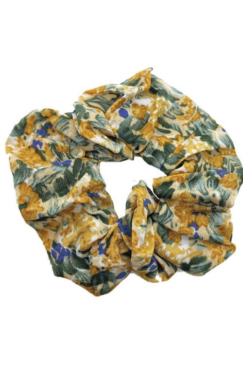 By Stær Accessories Scrunchie Blomster Dijon/lilla Front