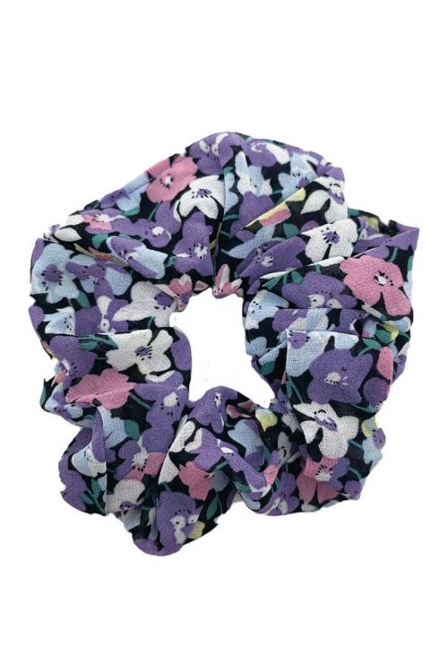 By Stær Accessorie Scrunchie Blomster Lilla/rosa Front
