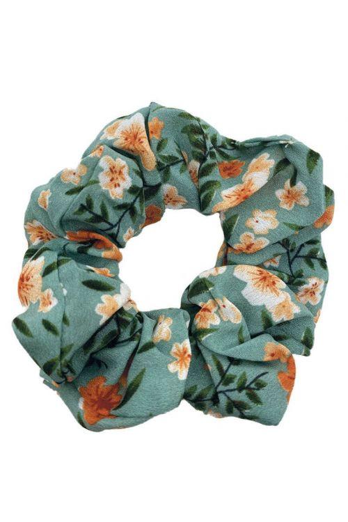 By Stær Accessories Scrunchie Blomster Orange/hvid Front