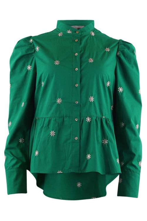 Continue - Bluse - Karen Black Embrodery - Green With White