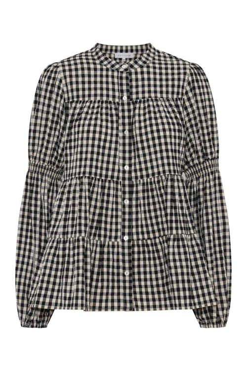 Continue Bluse Sanna Small Check Shirt Check Black/Sand Front