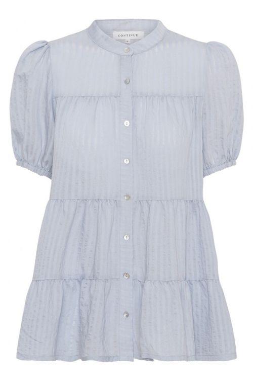Continue - Bluse - Sanna Stripe SS - Light Blue