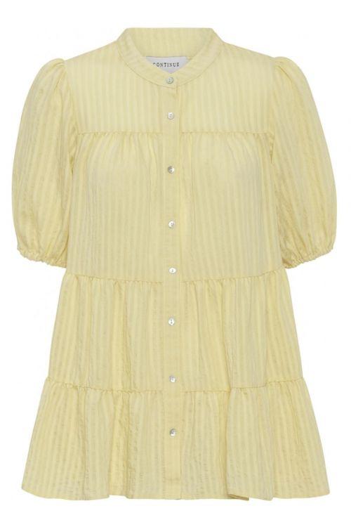 Continue - Bluse - Sanna Stripe SS - Light Yellow