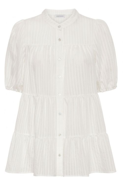 Continue - Bluse - Sanna Stripe SS - White