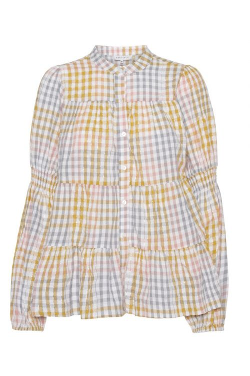 Continue Bluse Sanne Multi Check Multi Yellow Check Front