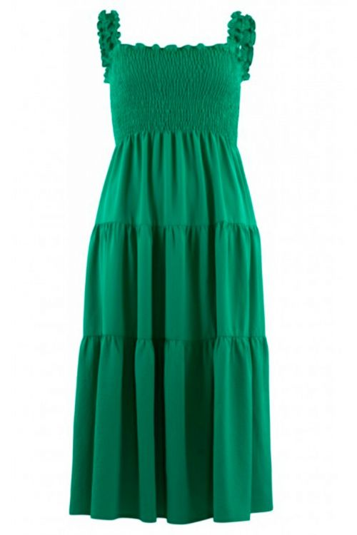 Continue  Kjole   Beth Smock Dress  Grass Green Front