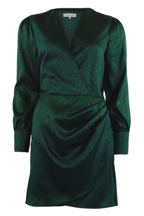 Continue - Kjole - Glam Zebra Dress - Bottlegreen