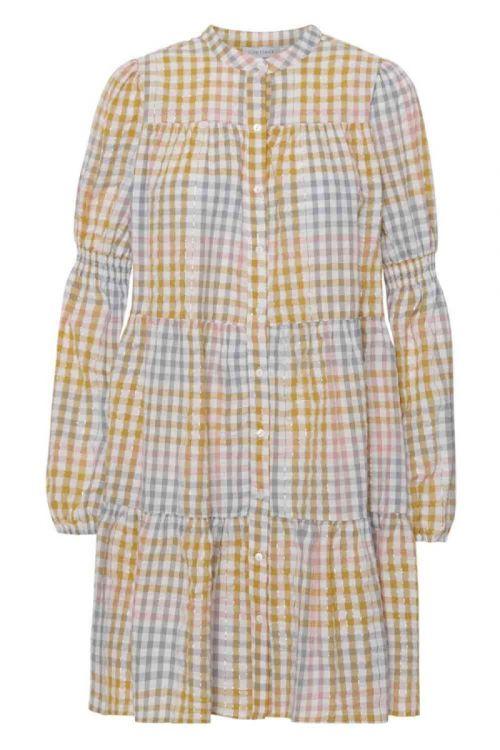 Continue Kjole Sanna Multicheck Dress Multi Yellow Check Front