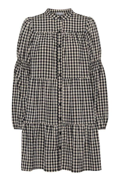 Continue - Kjole - Sanna Small Check Dress - Check Black/Sand
