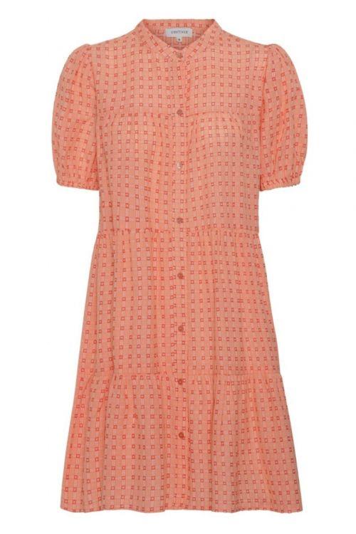 Continue Kjole Sanna SS Orange Check Dress Orange Small Check Front