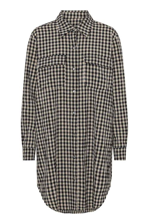 Continue Skjorte Gila Small Check Long Shirt Check Black/Sand Front