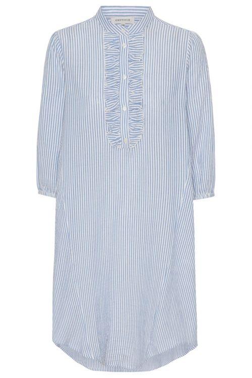 Continue - Skjorte - Perle Long Shirt - Blue/White