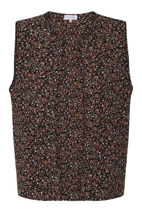 Continue Vest Velo West Black Flowerprint Front