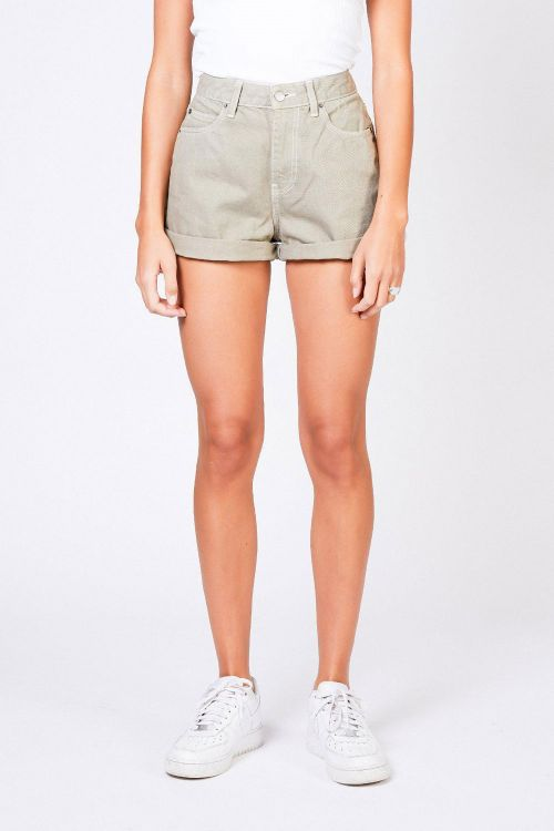 Dr. Denim Shorts Jenn Shorts Green Agate Contras Front