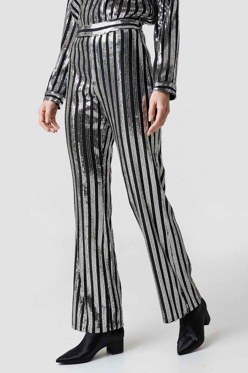NA-KD Bukser  Sequin Pants Black/Silver Front