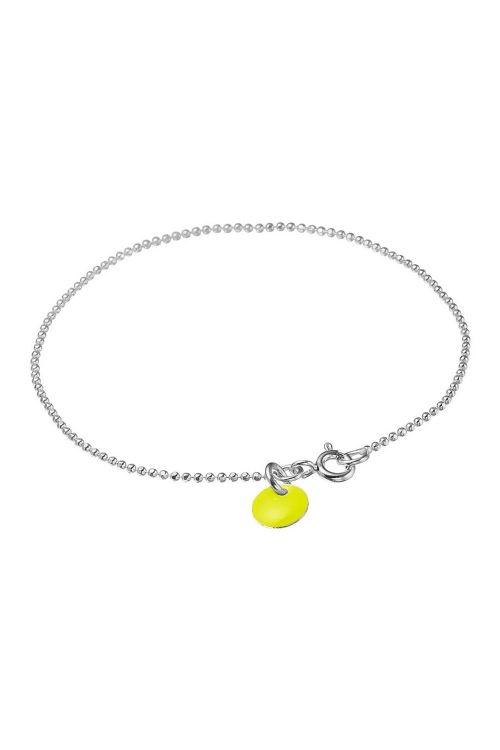 Enamel - Armbånd - Ball Chain Silver - Yellow