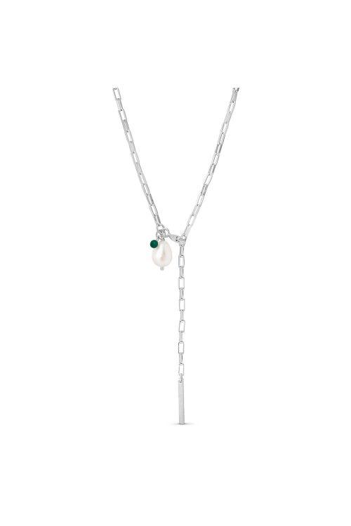 Enamel Halskæde Azra Necklace Silver Front
