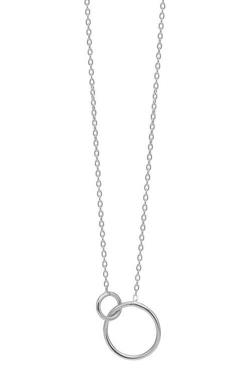 Enamel - Halskæde - Double Circle - Silver