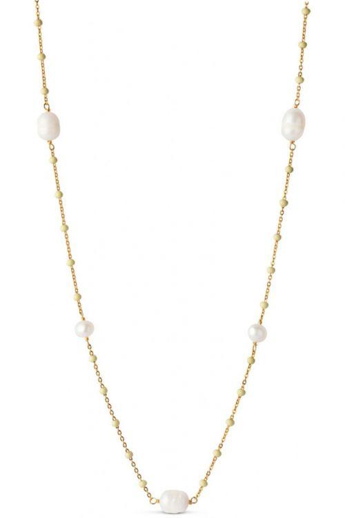 Enamel - Halskæde - Lola Perlita Necklace - Lemone/Pearl