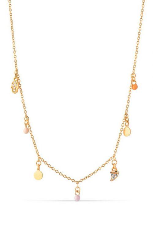 Enamel - Halskæde - Lucky Charmes Necklace - Peach/Light Pink/Orange/Light Yellow