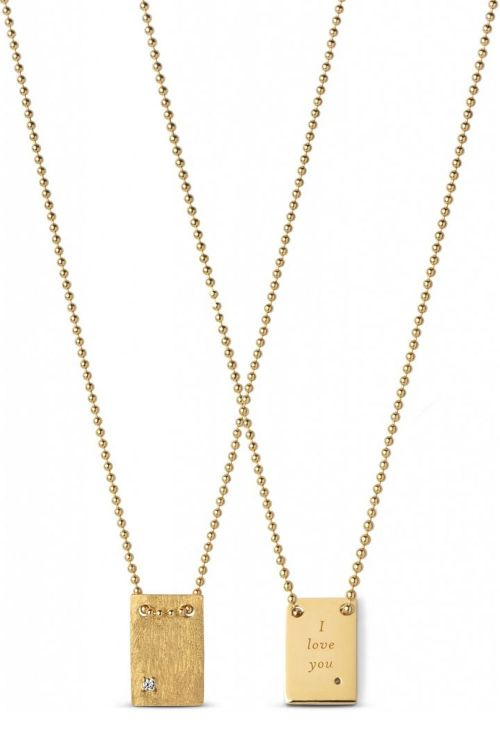 Enamel Halskæde I Love You Necklace Gold Front