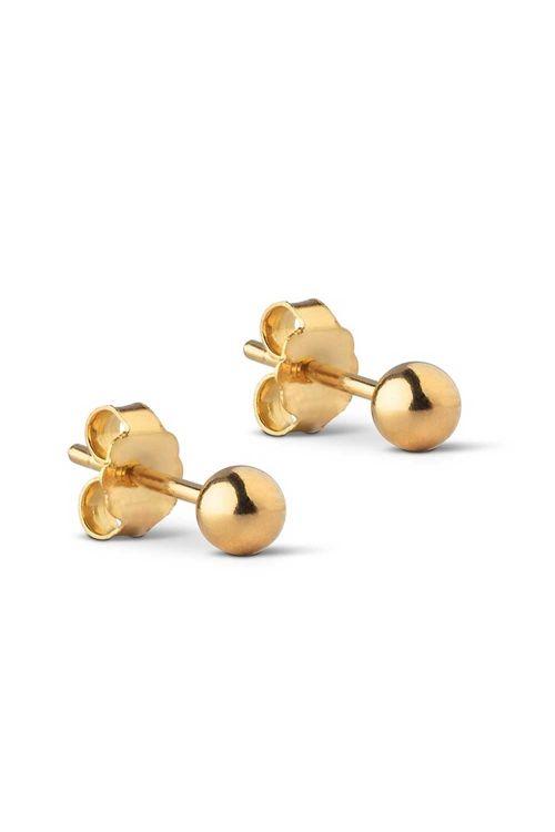 Enamel Øreringe Beads Stud 4 mm Gold Front