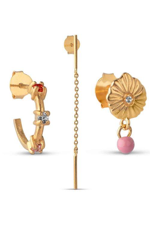 Enamel Øreringe Flamingo Box Gold Front