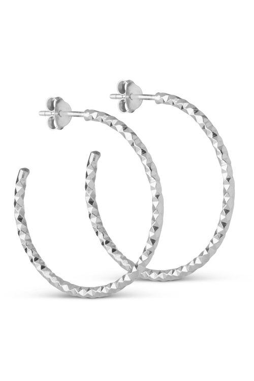 Enamel Øreringe Hoops Diamond Cut Large Silver Front