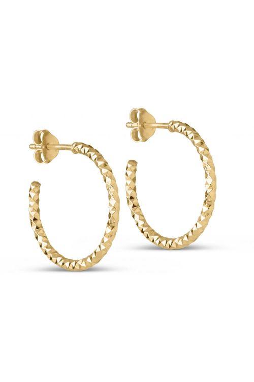 Enamel Øreringe Hoops Diamond Cut Small Gold Front