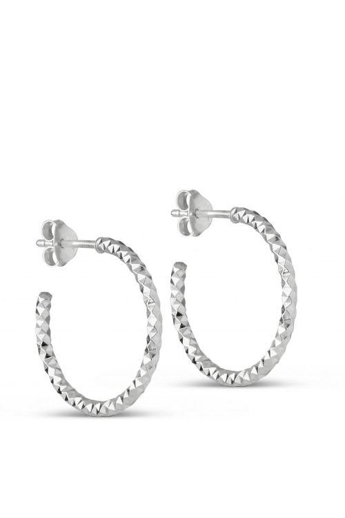 Enamel Øreringe Hoops Diamond Cut Small Silver Front