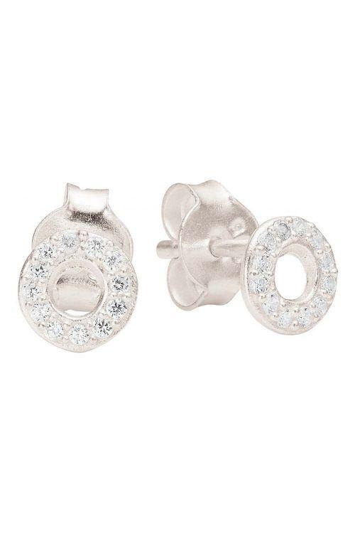 Enamel - Øreringe - Petite Round CZ - Silver