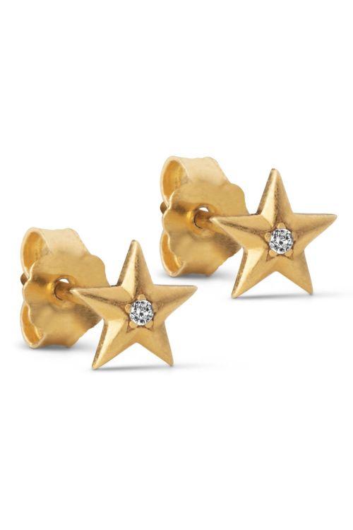 Enamel Øreringe Star Earstud Gold Front