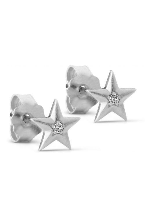 Enamel Øreringe Star Earstud Silver Front