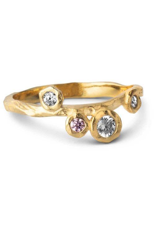 Enamel Ringe Rose Ring Gold Front