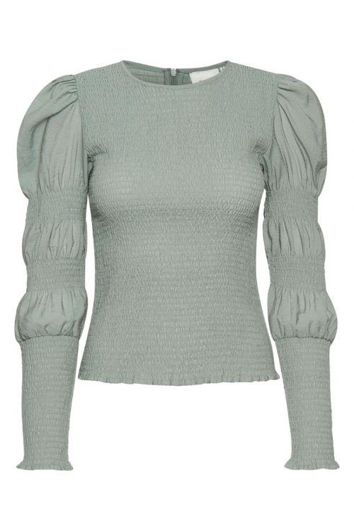 Gestuz Bluse Mazzi LS Blouse Slate Gray Front