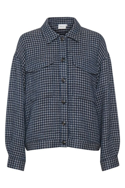 Gestuz - Jakke - Clea GZ Jacket - Navy/white Check