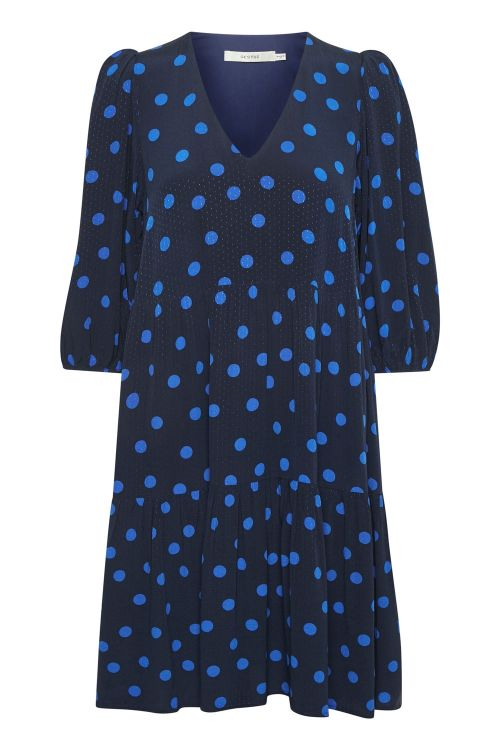 Gestuz Kjole Annali Dress Navy Blue Dot Front