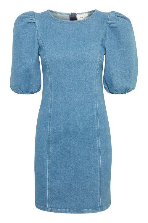 Gestuz Kjole Astrid Roundneck Dress Denim Blue Front